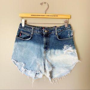 Vintage Bongo High Waist Cut Off Dip Dye Shorts